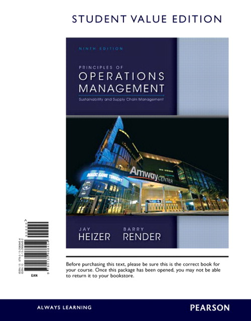 Principles of Operations Management, Student Value Edition, 9th Edition
