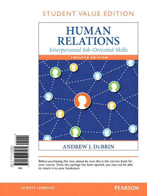 Human Relations: Interpersonal Job-Oriented Skills, Student Value Edition, 12th Edition