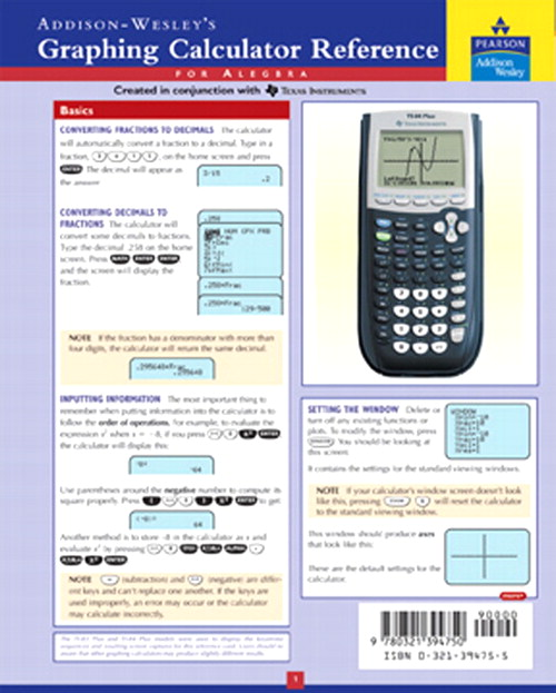Graphing Calculator Reference Card, 3rd Edition