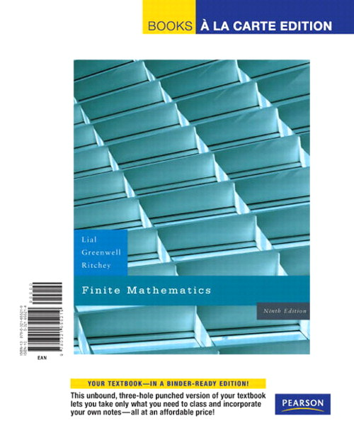 Finite Mathematics, Books a la Carte Edition, 9th Edition