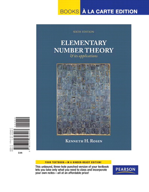 Elementary Number Theory, Books a la Carte Edition, 6th Edition