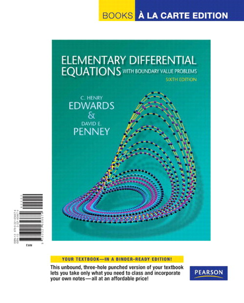 Elementary Differential Equations with Boundary Value Problems, Books a la Carte Edition, 6th Edition