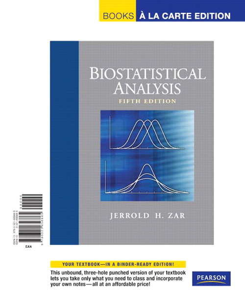 Biostatistical Analysis, Books a la Carte Edition, 5th Edition
