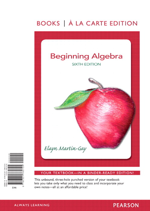Beginning Algebra, Books a la Carte Edition, 6th Edition