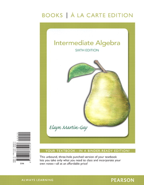 Intermediate Algebra, Books a la Carte Edition, 6th Edition