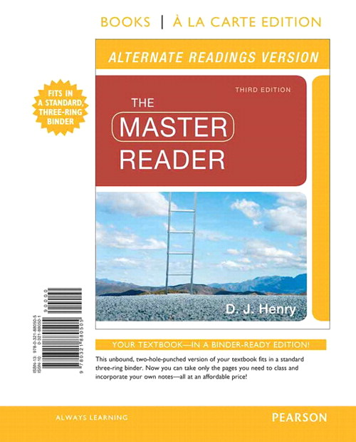 The Master Reader, Alternate Edition, Books a la Carte Plus NEW MyReadingLab with eText -- Access Card Package, 3rd Edition